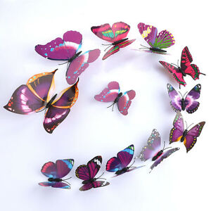 Purple-12pcs-Art-Decal-Home-Room-Wall-Stickers-3D-Butterfly-Sticker-Decorations