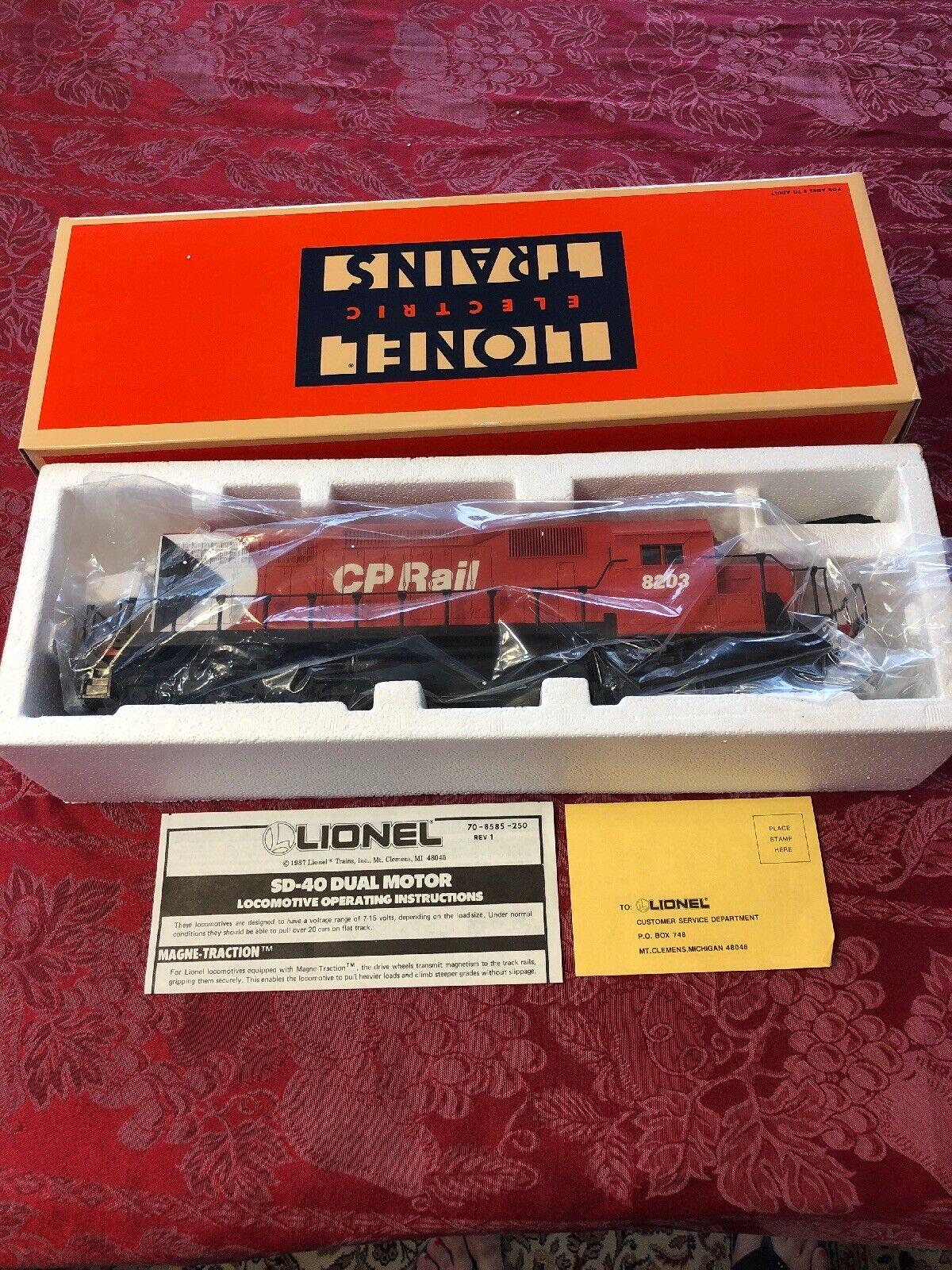 A Lionel 6 -18203 CP Järnväg SD40 Diesel Locomotive 1987 Ny