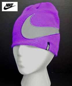 9c91e13a2ca NWT NIKE Girls Purple Beanie  Winter Hat with Silver Logo(Size 4 6X ...