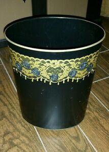 Midcentury Ransburg Black Gold Rhinestone Lace Rose Shabby