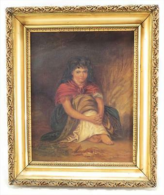 Antique 19th Cent European Portrait a girl seated w Red Shawl
