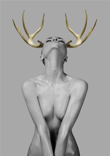 Sex Girl Canvas Painting Figure Women Antler Fashion Black Wall Art Home Decor