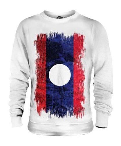 Laos Grunge Flag Unisex Pullover Top Lao Fußball Laotisches Geschenk T-Shirt
