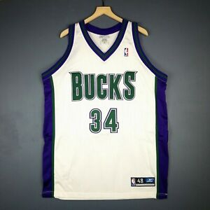 buy online 82d6b a5ead Details about 100% Authentic Ray Allen Reebok Bucks NBA Jersey Size 48 Mens