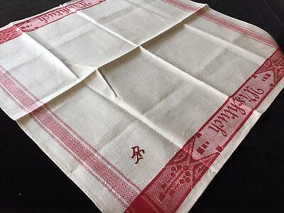 Leinen Wischtuch Motiv//Schriftzug rote  Webkante um1900 Antique Linen Towel