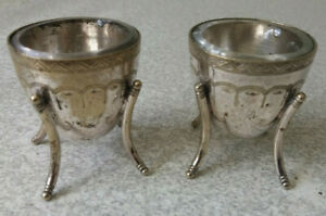 LOVELY-PAIR-ANTIQUE-SILVER-PLATED-SPUTNIK-STYLE-SALTS-amp-GLASS-LINERS