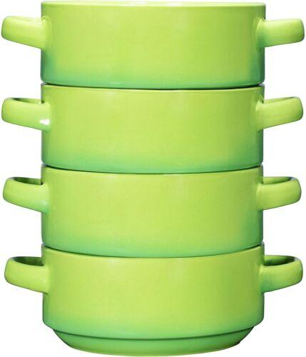 Bruntmor Porcelain Soup Bowls With Handles Set of 4 Oven Safe Bowls 19 OZ Green