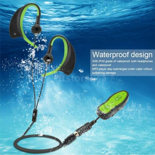 IPX8 8GB MP3 Music Player Swimming Diving Water-proof w//Headphone Clip USB B4E7