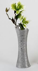 moderne deko vase bodenvase aus keramik in silber h he 50 cm ebay. Black Bedroom Furniture Sets. Home Design Ideas