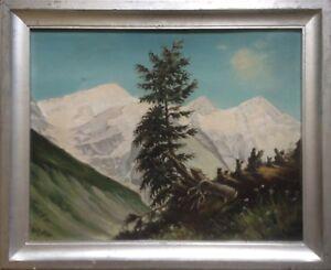 CARLO-PILA-OLGEMALDE-ALPINE-LANDSCHAFT-GEBIRGE-BERGE-ALPEN-DAT-1946-ANTIK
