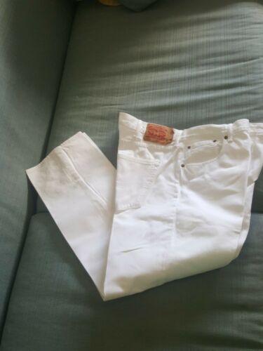 Levi's 501 Button Fly White Denim Jeans Size 42 x
