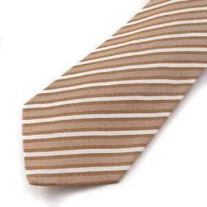 New $295 KITON NAPOLI 7-Fold Ivory and Chocolate Brown Striped Twill Silk Tie
