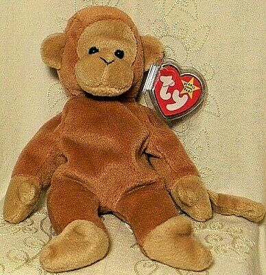 NEW Ty Beanie Baby Bongo The Monkey 1995 Rare PVC Pellets Retired MWMT