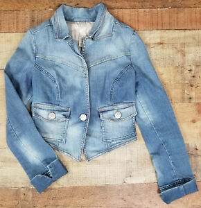 Refuge-Denim-Jacket-Bolero-Light-Wash-Faded-Jean-Buttoned-Long-Sleeve-Juniors-M