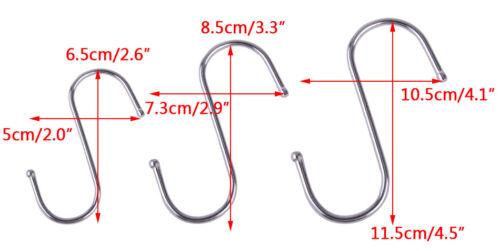 5pcs Stainless Steel S Hook Pot Hanger Heavy Duty Polished Metal Hooks