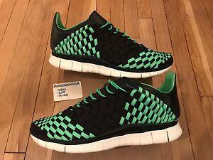 Nike Free Inneva Woven Mens 10.5 Black Poison Green USED Worn 1x HTM 579916 030