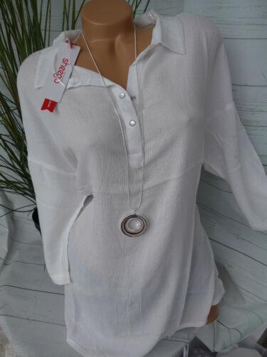 weiß Knopfleiste NEU Sheego Bluse Damen Shirt weich fallend Gr 42 bis 56 111