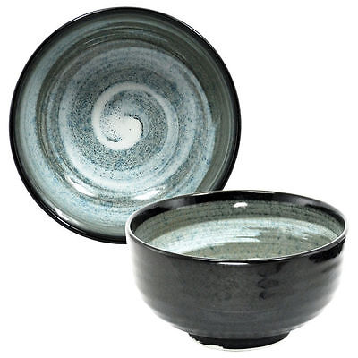 "Japanese Rice Soup Bowl 4.5/""D Ceramic Tsumuji Mizuwa Black Swirl Made in Japan"
