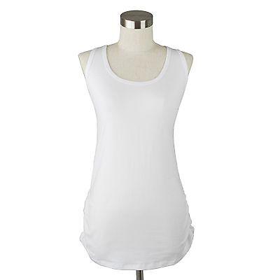 Women Cami Tank Top Racer Back Long Shirts Side Shirring Cotton Solid S M L PLUS