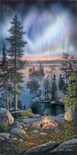 Night Fire By Kim Norlien Lake Campfire Print  5 x 14.5