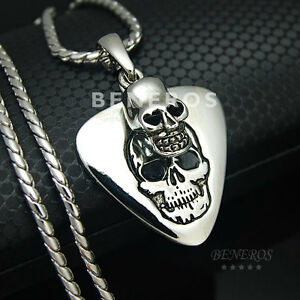 Skull guitar pick pendant chain necklace silver plated mens rocker image is loading skull guitar pick pendant chain necklace silver plated aloadofball Gallery