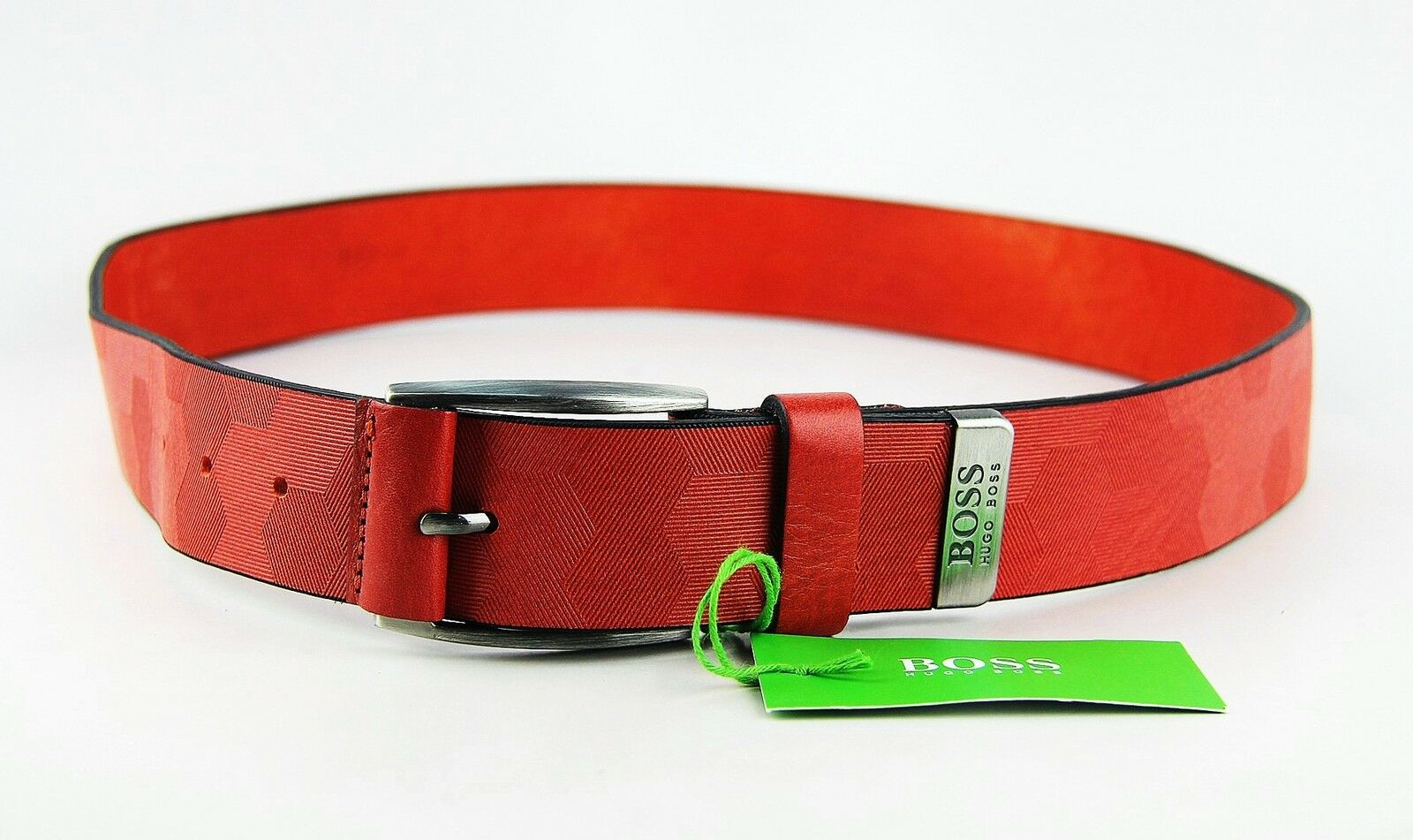 HUGO BOSS vert LABEL TAMORTY TEXTUrouge cuir BELT Taille 34 nouveau ITALY   17