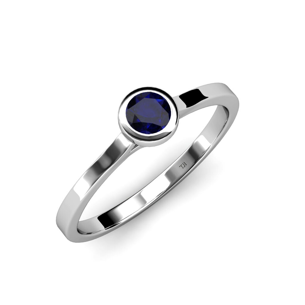 Floating bluee Sapphire Solitaire Engagement Ring 0.55 ct in 14K gold JP 26321