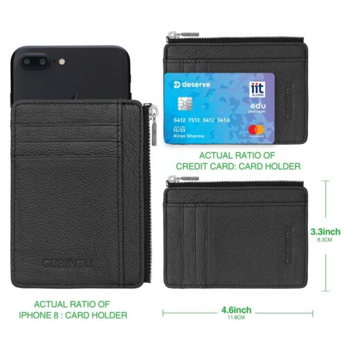 Holds Up to 8 Cards Large Capacity Card Holder Men/'s Leather Money Slim Wallet