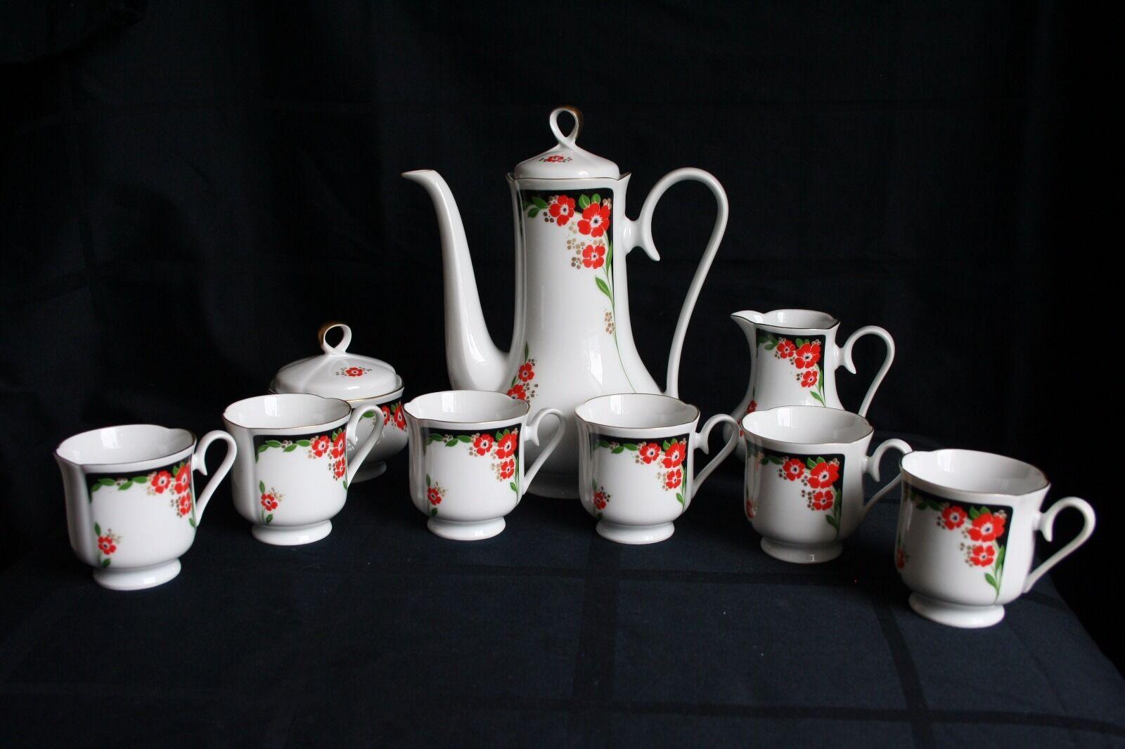 Hermosa Vintage República Porzellan 9 piezas Juego de té