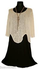 Jassysbest L 44 46  2tlg. Lagenlook Kleid Overshirt Basic Tunika Schwarz Beige