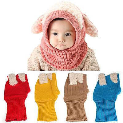 Lovely Warm Crochet Knit Beanie Hat Cap Scarf For Baby Kids Toddler Boys Girls