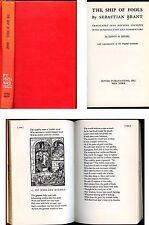 The Ship of Fools Sebastian Brant translated Edwin H. Zeydel 1962 Original Woodc