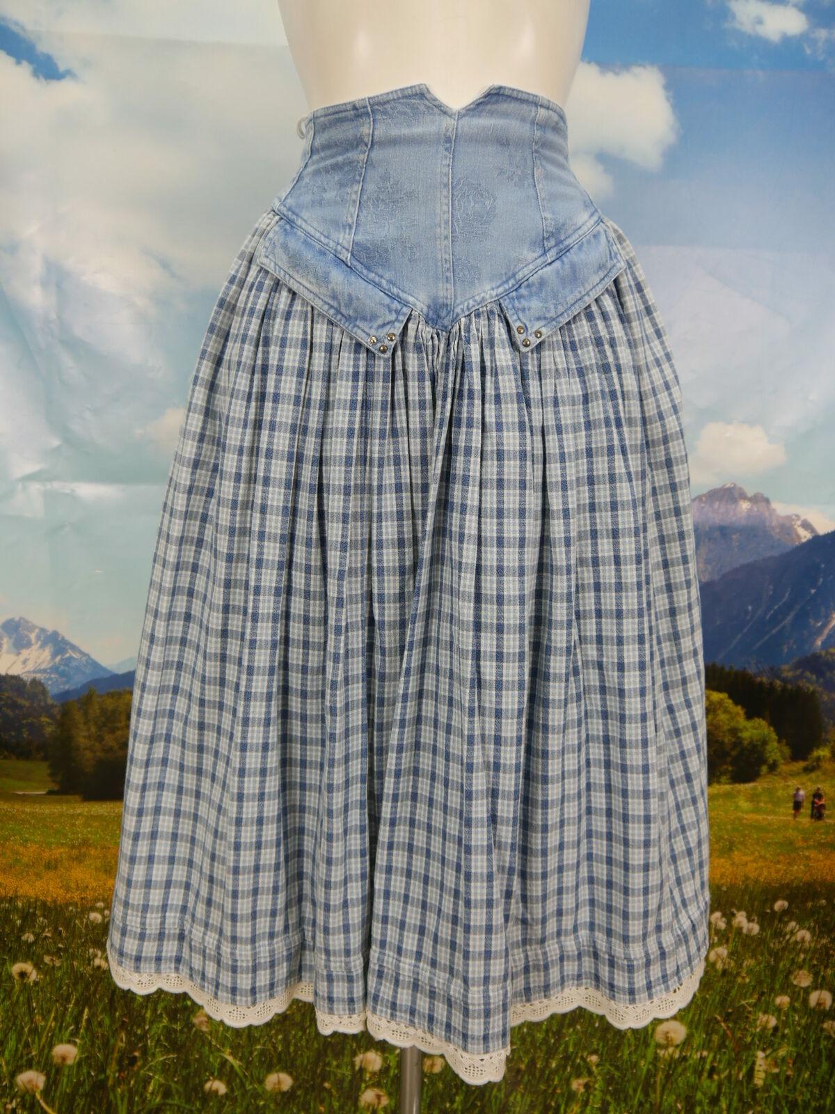 Trachtenrock bleu coton avec voiturereaux et jeans Bordure Prima costumes jupe taille 34