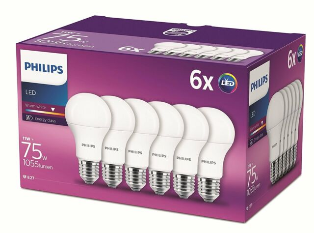 6 Pk Philips LED Frosted E27 Edison Screw 75w Warm White Light Bulbs Lamp 1055Lm