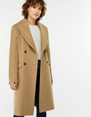 Topshop Camel Relax Fit Double Breasted Boyfriend Crombie Long Coat  UK 8-14