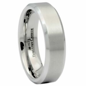 6mm-Brushed-White-Tungsten-Carbide-Wedding-Band-Polished-Edges-Ring