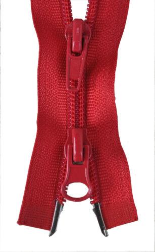 Reißverschluss  2 Wege Spirale rot 80.90 oder 100 cm lang