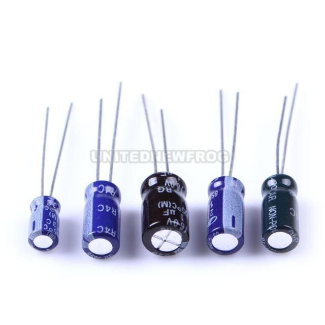 210Pcs 25 Value 0.1uF-220uF Electrolytic Capacitors Assortment Kit Set UN0F