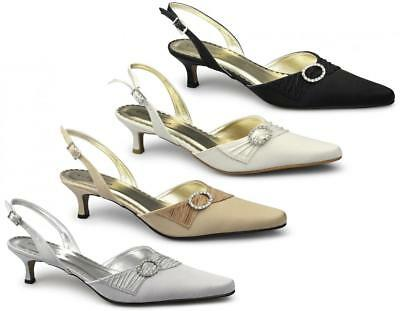 Womens Ladies Ruched Satin Diamante Buckle Stiletto Pointed Evening Shoes Ivory