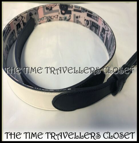 "35/"" RP £ 60 BNWT Fred Perry Amy Winehouse Bianco Multi JUKEBOX Cintura in pelle M 31/"""