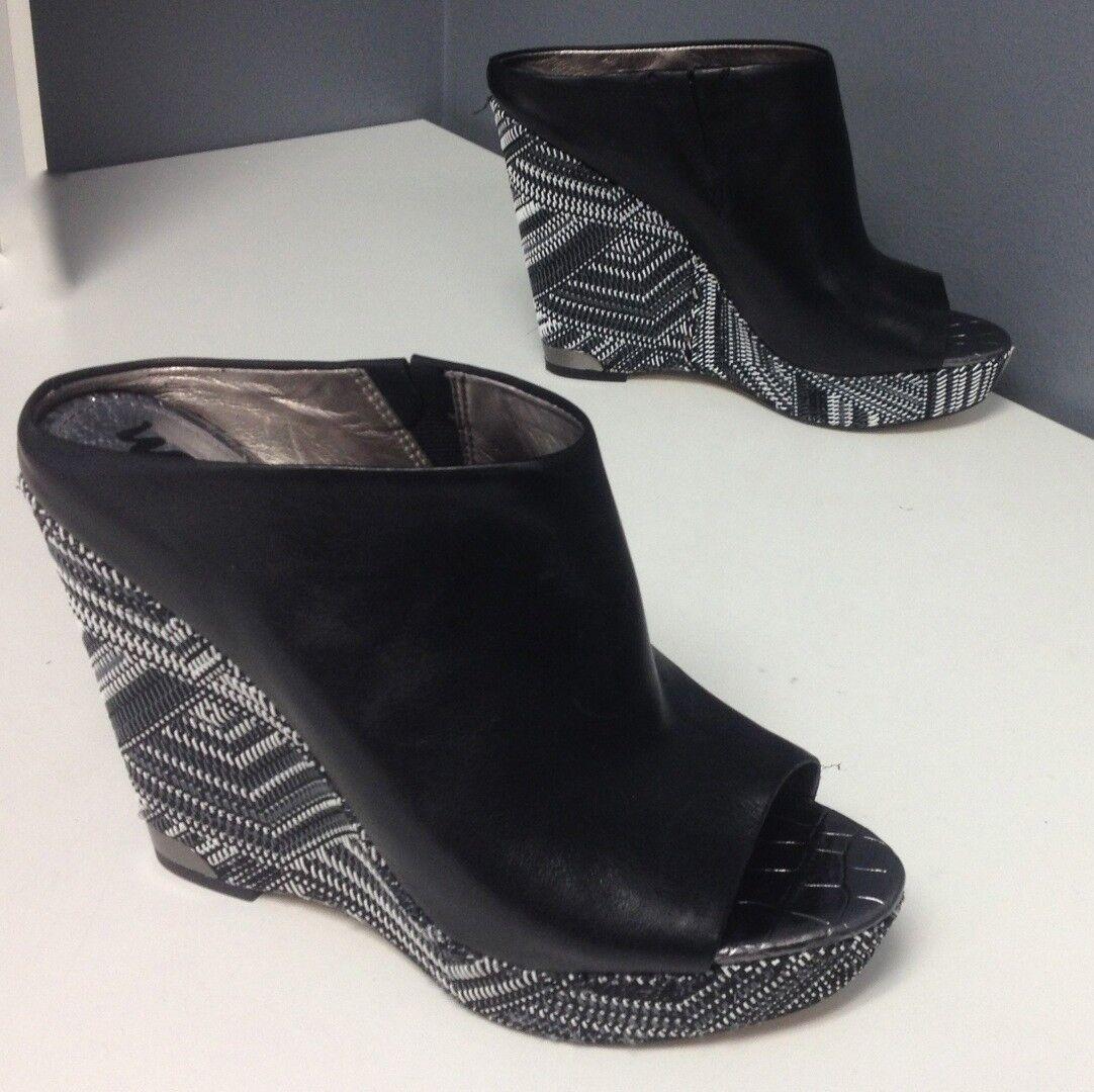 profitto zero SAM EDELMAN nero Leather Leather Leather Geometric Platform Wedge Slip On Sandals Sz 8 B4561  vendita online sconto prezzo basso