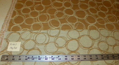 Brown Beige Circle Print Upholstery Fabric Remnant F1407