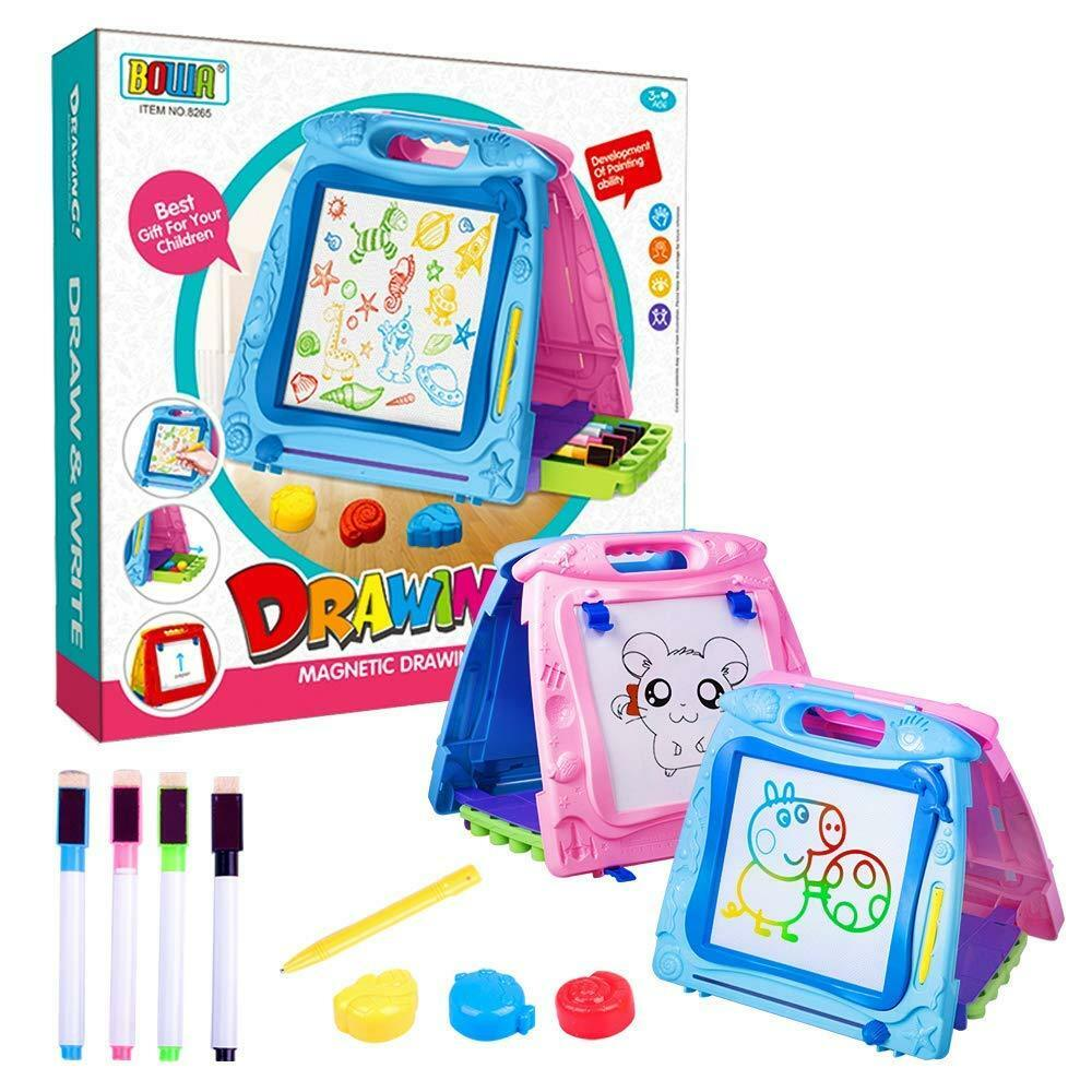 3 in 1 Portable Magnetic Drawing Board Easel with Storage Pen Box, Magic Doodle