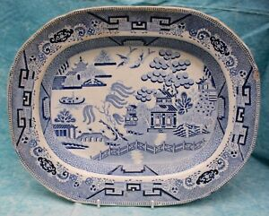 Antique-Blue-amp-White-Willow-Pattern-Crown-Staffordshire-Deep-Oval-Serving-Dish