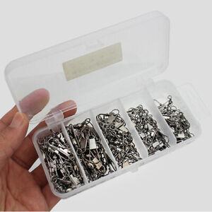 100stk-Edelstahl-Rolling-Barrel-Angeln-Swivel-Solide-Ring-Fisch-Werkzeug-mit-Box