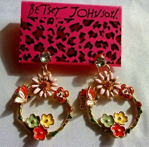 BETSEY-JOHNSON-MULTI-COLOR-BUTTERFLY-amp-FLOWERS-DANGLE-CRYSTAL-EARRINGS-NWT
