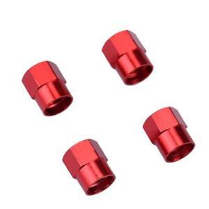 Lot-de-4-bouchons-de-valve-en-aluminium-v1-Couleur-rouge-Auto-Moto-Velo
