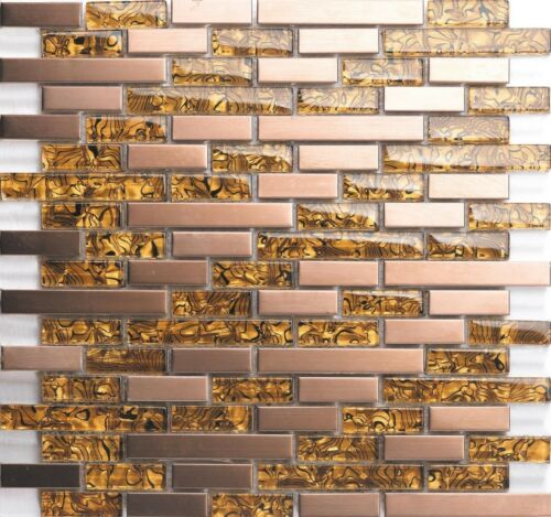 Amber Glass /& Brushed Copper Effect Stainless Steel Mosaic Tile 0169