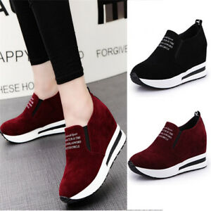 8bf48bf75a3 Image is loading Women-Platform-Hidden-Wedge-Sneakers-Casual-Sport-Low-
