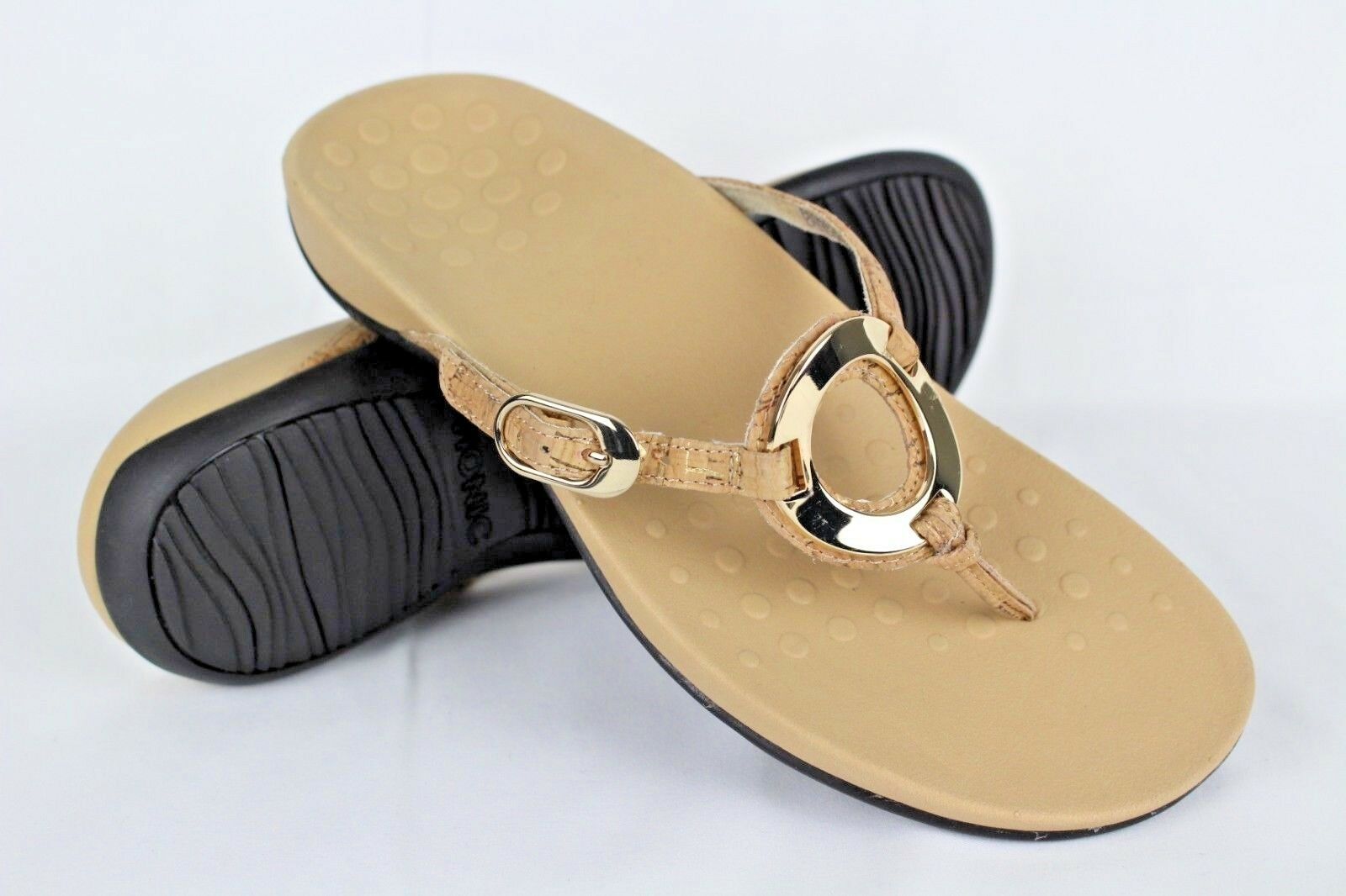 New Vionic Orthaheel Women's Rest Karina Thong Sandals Size 11m gold Cork